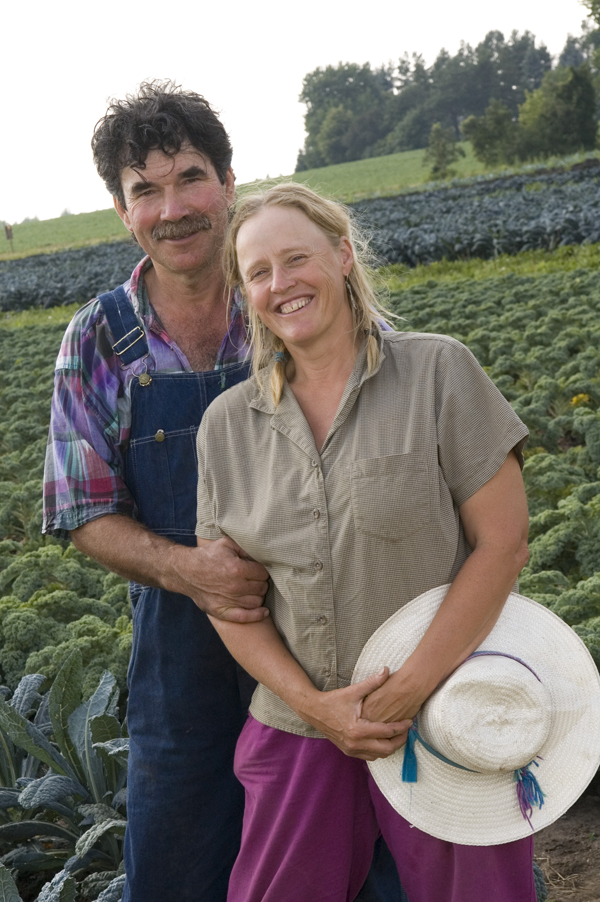 Atina and Martin Diffley, Organic Farming Works, in a kale field at Gardens of Eagan, 2006.