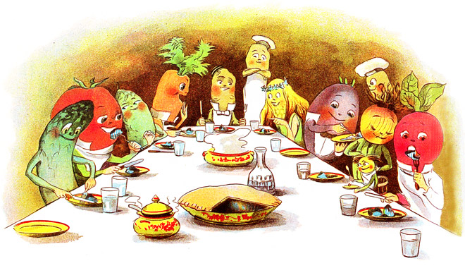 veggie dinner illustration